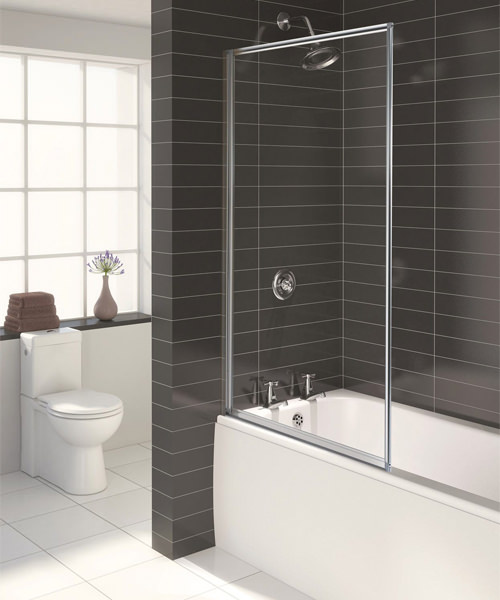 Aqualux Aqua 3 Pearl Silver Fully Framed Outward Opening 3mm Glass Bath Screen