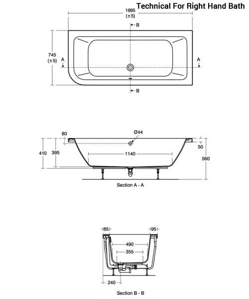 Additional image of Ideal Standard Concept Asymmetric Idealform Plus Bath 1700 x 750mm