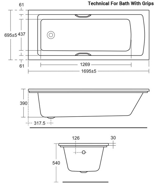 Additional image of Ideal Standard Tempo Arc 1700 x 700mm Idealform Bath