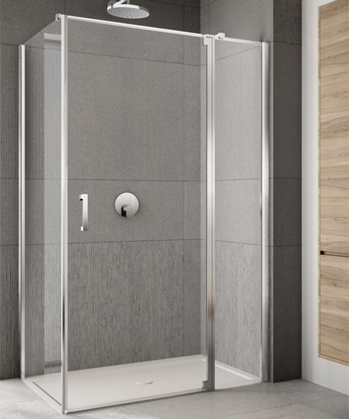 Alternate image of Lakes Italia Rilassa 900mm Semi-Frameless Right Hand Pivot Door And In-Line Panel With Optional Side Panel