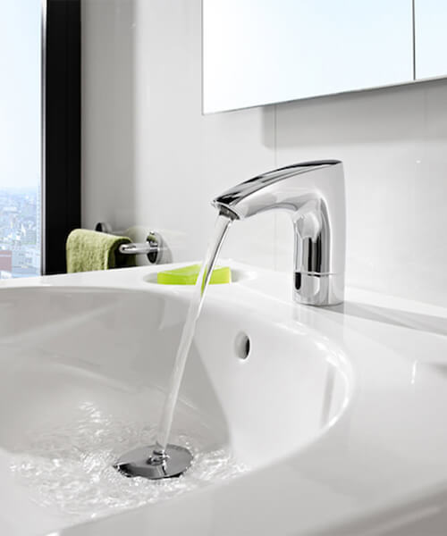 Roca M3 Electronic Basin Mixer Tap With External Temperature Control - Battery Operated