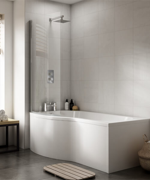 Nuie Premier B-Shaped Left Hand 1500mm Shower Bath Set