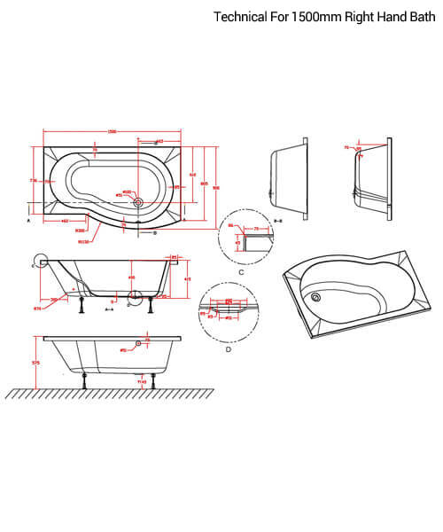 Additional image of Nuie Premier B-Shaped Left Hand 1500mm Shower Bath Set