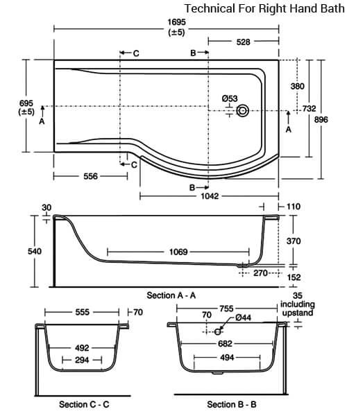 Additional image of Ideal Standard Concept Idealform Shower Bath 1700 x 700mm