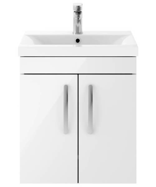 Nuie Premier Athena 500mm Wall Hung 2 Door Cabinet And Basin 2