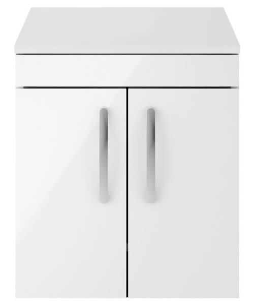 Nuie Premier Athena 500mm Wall Hung 2 Door Cabinet With Worktop