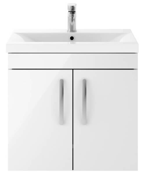 Nuie Premier Athena 600mm Wall Hung 2 Door Cabinet With Basin 2