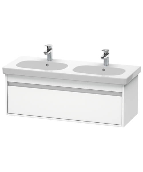 Duravit Ketho 1150mm 1 Box Drawer Wall-Mounted Vanity Unit With D-Code Double Bowl Basin