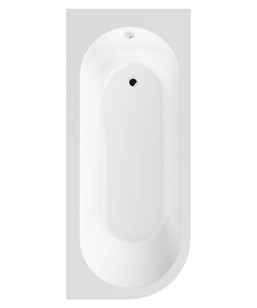 Additional image of Premier Crescent 1700 x 725mm Back To Wall Acrylic Corner Bath White