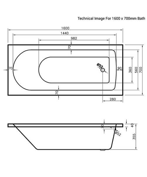 Additional image of Nuie Premier Barmby Single Ended Acrylic Bathtub