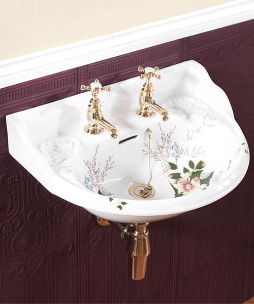 Silverdale Victorian Garden 530 x 385mm White 2 Tap Hole Cloakroom Basin