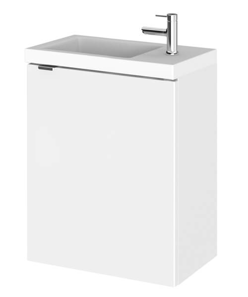 Hudson Reed Fusion 400 x 255mm Wall Hung Vanity Unit And Side Taphole Basin