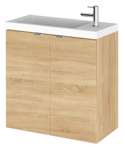 Additional image of Hudson Reed Fusion 500mm Wall Hung 2 Door Slimline Vanity Unit And Basin