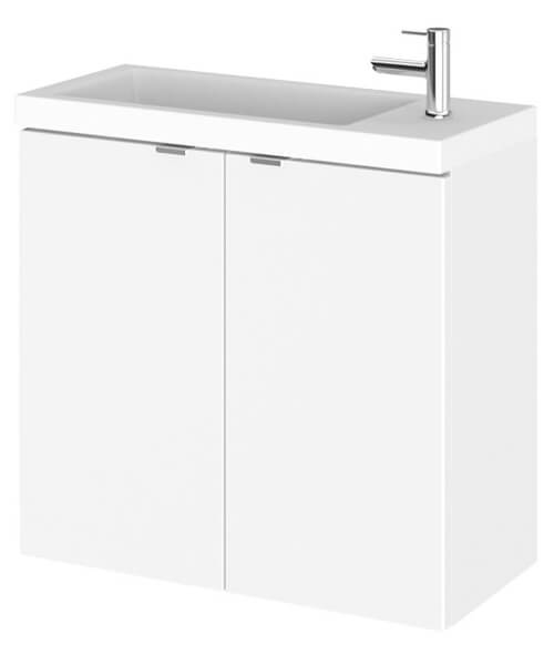 Hudson Reed Fusion 600mm Wall Hung 2 Door Slimline Vanity Unit And Basin