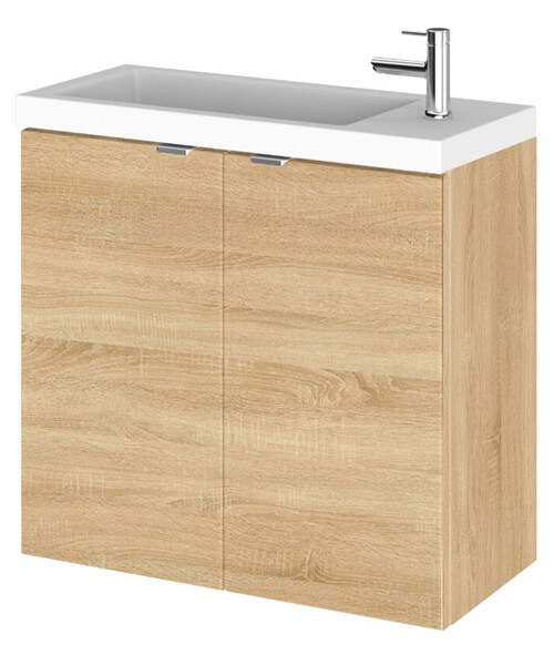 Additional image of Hudson Reed Fusion 600mm Wall Hung 2 Door Slimline Vanity Unit And Basin