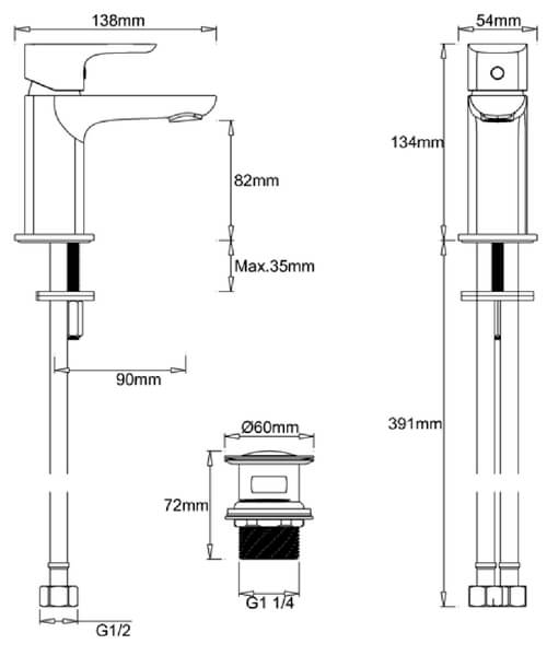 Technical drawing 62253 / MBSN114P+