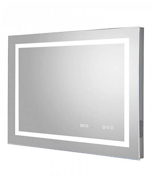 Hudson Reed Prisma 800 x 600mm LED Mirror Glass With Digital Clock