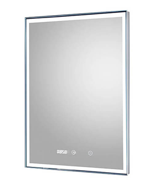 Hudson Reed Lustre Touch Sensor LED Mirror With Clock And Demister Pad