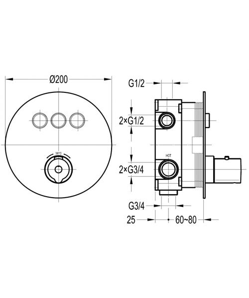Alternate image of Flova Allore Thermostatic Valve Goclick Trim Kit - Round Plate