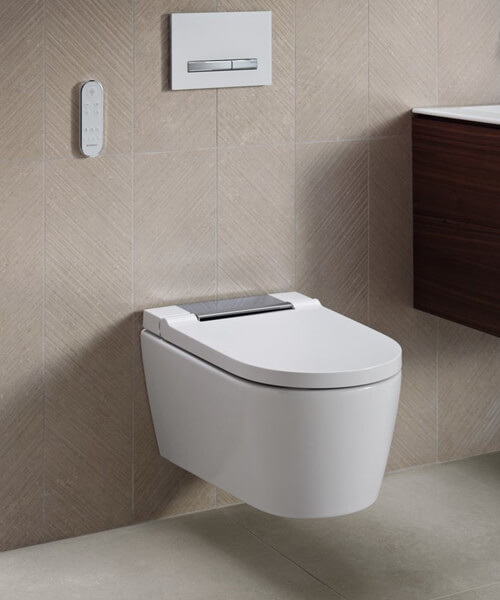 Additional image of Geberit AquaClean Sela 375 x 565mm Wall Hung WC Pan And White Alpine Seat