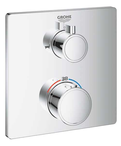 Grohe Grohtherm Thermostatic Bath Tub Mixer For 2 Outlets With Integrated Shut Off Diverter Valve