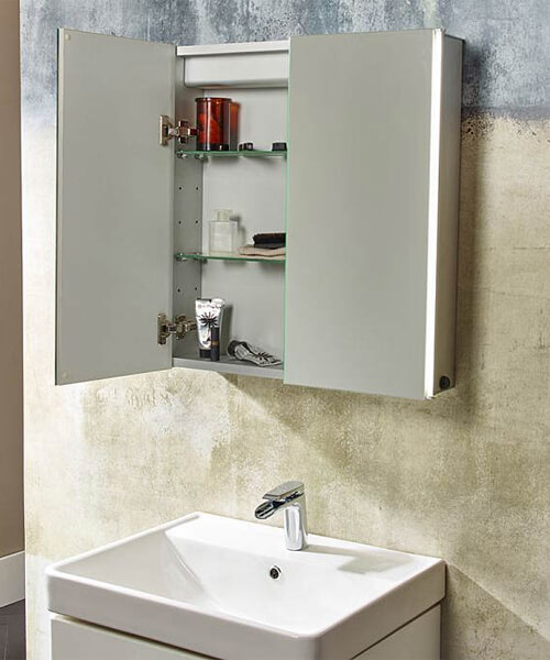 Tavistock Sleek Double Door Mirror Cabinet With LED Lighting