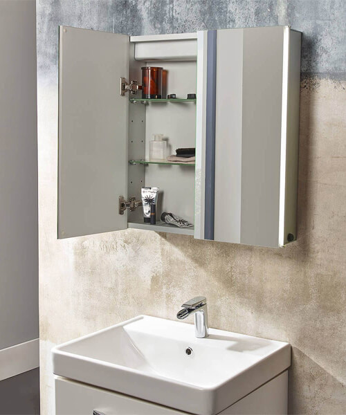 Tavistock Stride 650 x 650mm Single Door LED Illuminated Mirror Cabinet