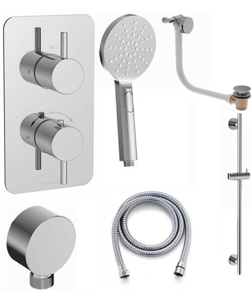 Saneux COS 2 Outlet Thermostatic Valve With Shower Rail Kit