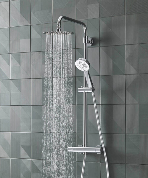 Tavistock Quantum Cool Touch Thermostatic Dual Function Bar Valve With Head And Handset