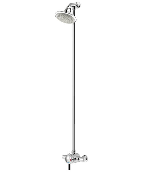 Bristan Commercial Thermostatic Exposed Mini Shower Valve With Top Outlet Rigid Riser