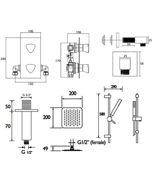Technical drawing 51164 / BRIGHT SHWR PK