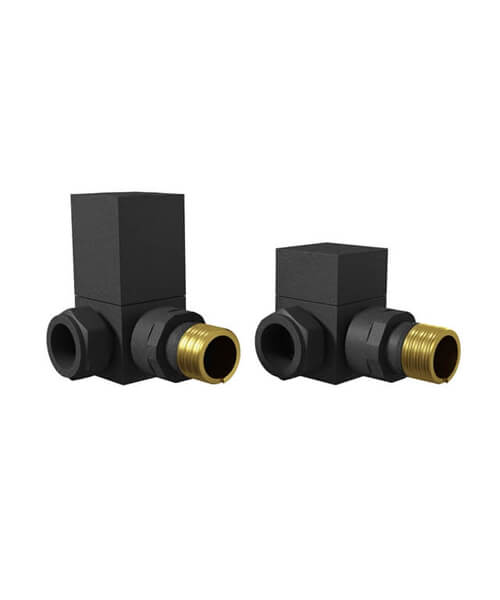 Essential Anthracite Square Corner Manual Radiator Valve Pack