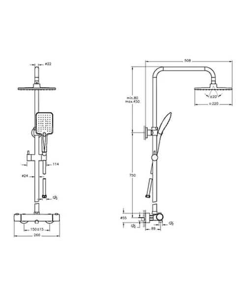 Additional image of VitrA Aquaheat RH3 Thermostatic Shower Set