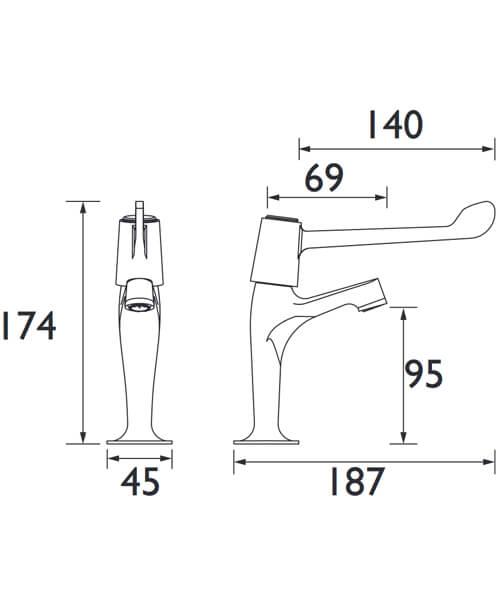 Additional image of Bristan Value Lever High Neck Pillar Taps