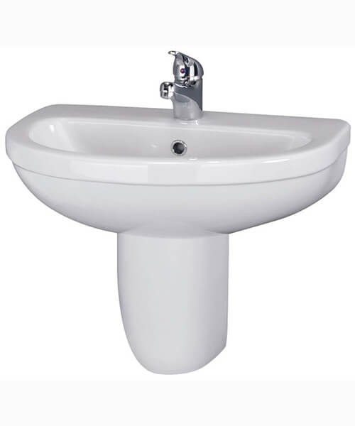 Nuie Ivo 550mm Wall Mounted 1 Tap Hole Basin With Semi Pedestal