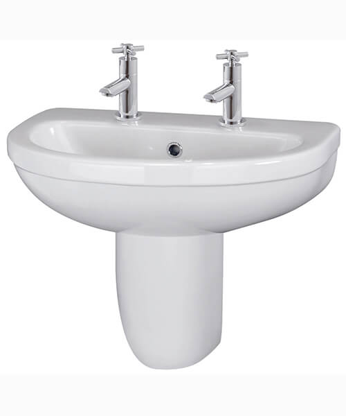 Additional image of Nuie Ivo 550mm Wall Mounted 1 Tap Hole Basin With Semi Pedestal