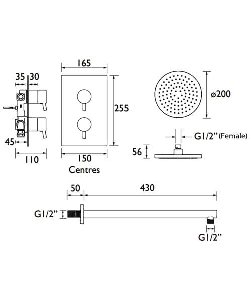 Technical drawing 51457 / PRISM SHWR PK