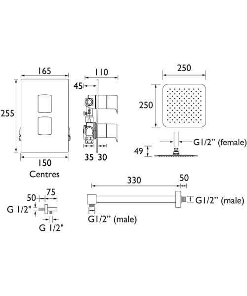 Technical drawing 55419 / DESCENT SHWR PK2