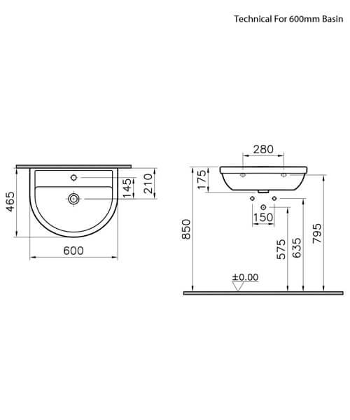 Additional image of VitrA Milton 550mm 1 Tap Hole Washbasin