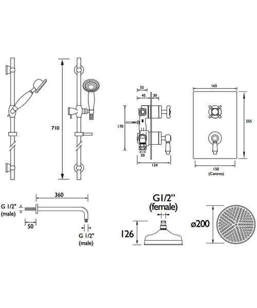 Technical drawing 51462 / RENAISSANCE 2 SHWR PK