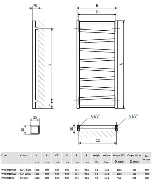 Technical drawing 45647 / WD50X109MB