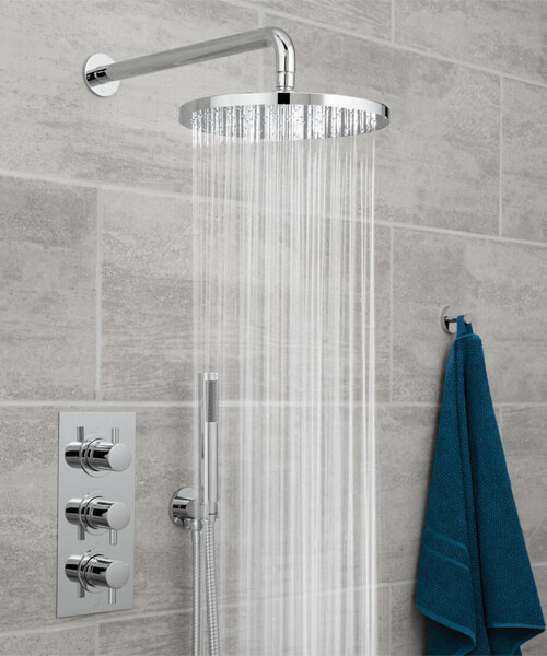 Vado Celsius 2 Outlet Thermostatic Valve With Saturn Round Head And Zoo Shower Kit