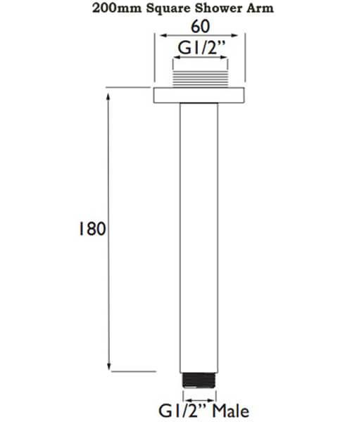 Alternate image of Bristan Ceiling Fed Chrome Polished Shower Arm