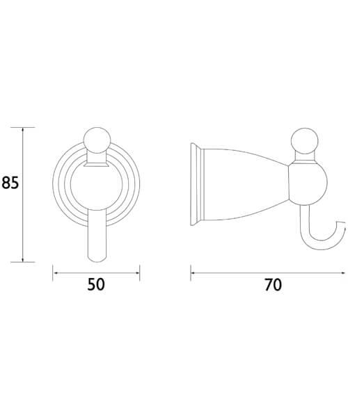Technical drawing 44618 / N2 HOOK C