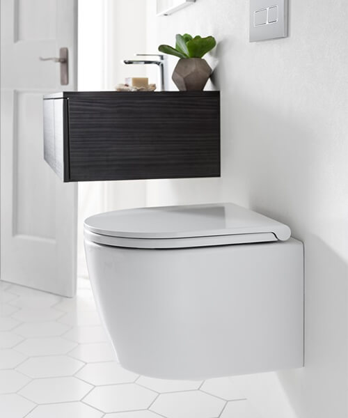 Bauhaus Pier 360mm Wall Hung Toilet And Wrap Over Soft Close Seat