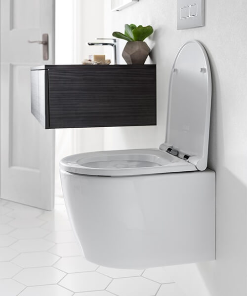 Additional image of Bauhaus Pier 360mm Wall Hung Toilet And Wrap Over Soft Close Seat