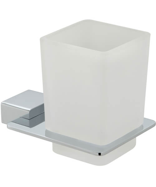 Vado Phase Chrome Frosted Glass Tumbler And Holder