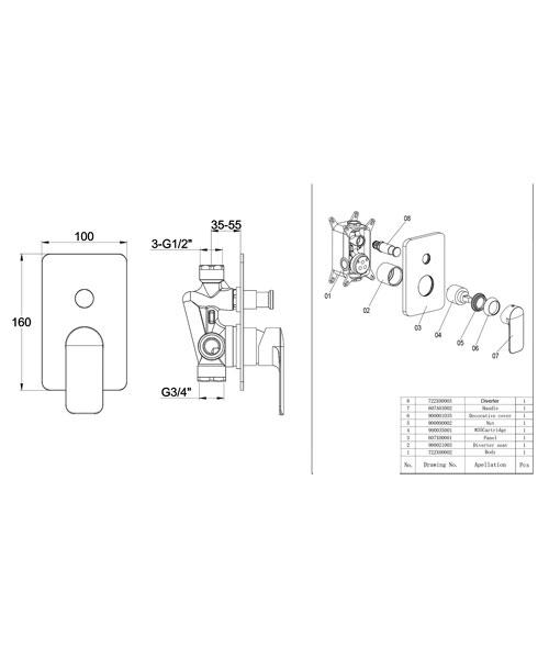 Additional image of Pura Suburb Manual Single Lever Shower Mixer Valve