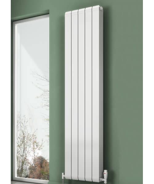 Reina Evie 1442mm High White Vertical Aluminium Radiator
