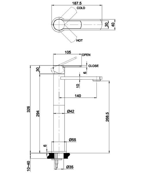 Alternate image of Crosswater Wisp Monobloc Basin Mixer Tap